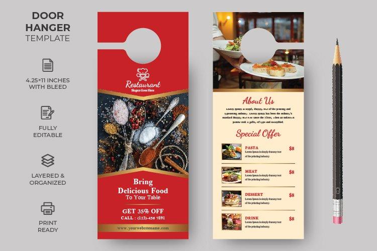 Food Restuarant Door Hanger design template example image 1
