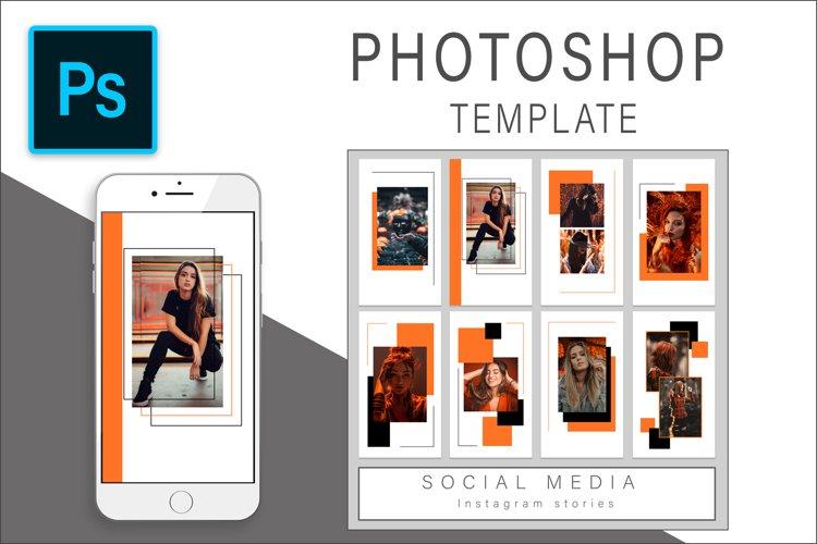Orange Instagram Stories Photoshop Template Post example image 1