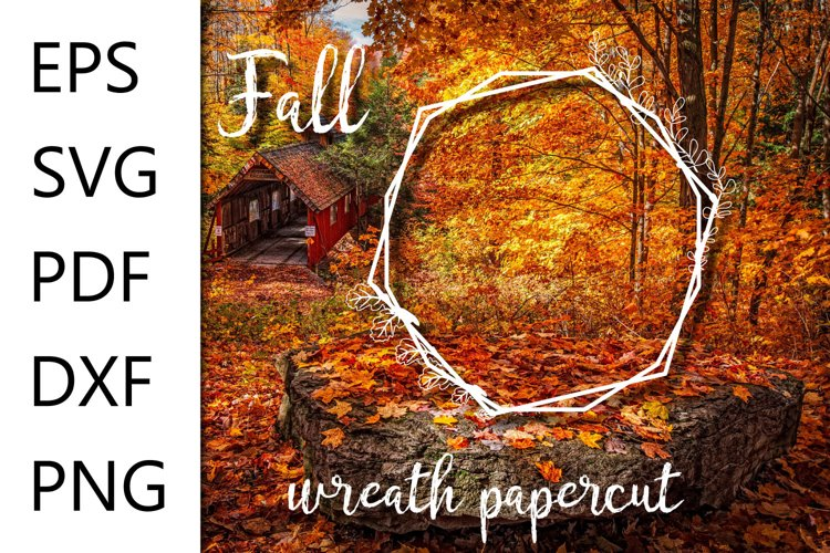 Fall polygonal wreath papercut file - EPS SVG PDF DXF PNG example image 1