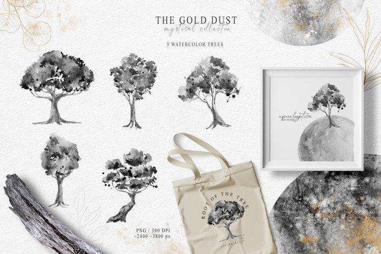 Watercolor trees clipart. Digital illustration
