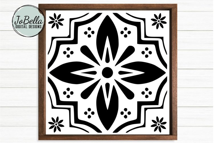 Spanish Tile 4 SVG, Stencil Template and Printable