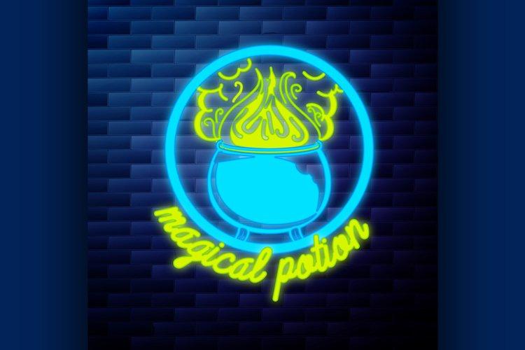 Vintage emblem glowing neon sign example image 1