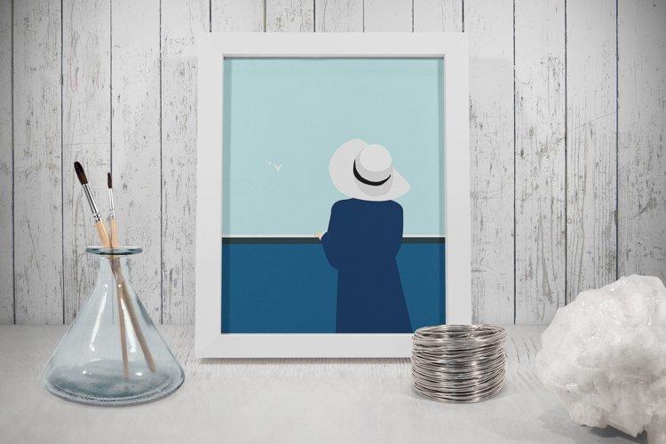 Set of illustrations, sea, girl, boat, lighthouse
