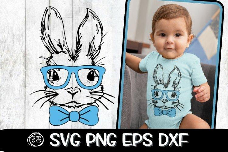 Bunny Svg - Bowtie - Glasses - Boy Easter - SVG PNG EPS DXF