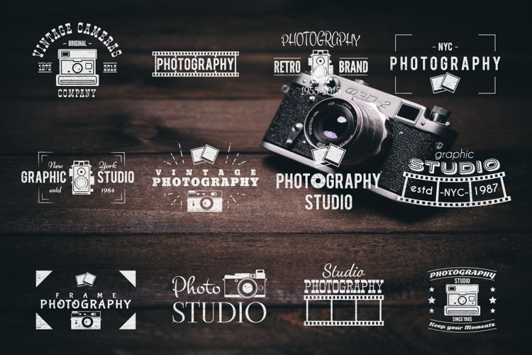 Vintage Photography SVG Bundle Photographer Logos Silhouette