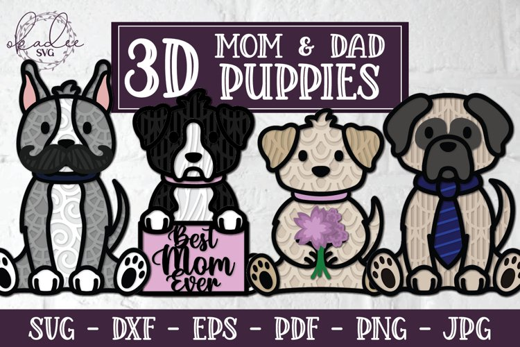 3D Mother's Day SVG, Puppies, Dogs, Father's Day, Mandala example image 1