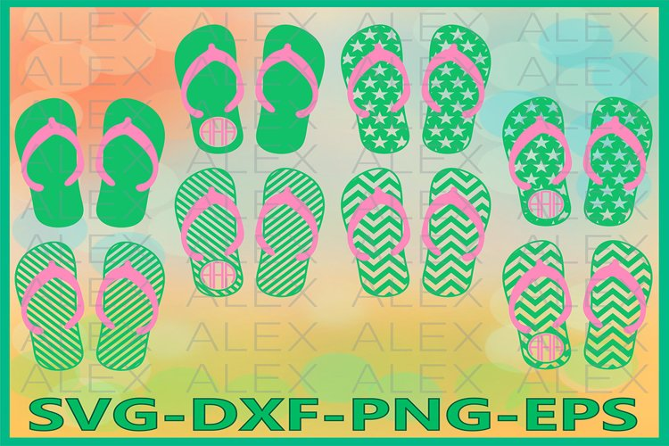 Flip Flop SVG, Flip Flop Monogram SVG, Flip Flop Cricut
