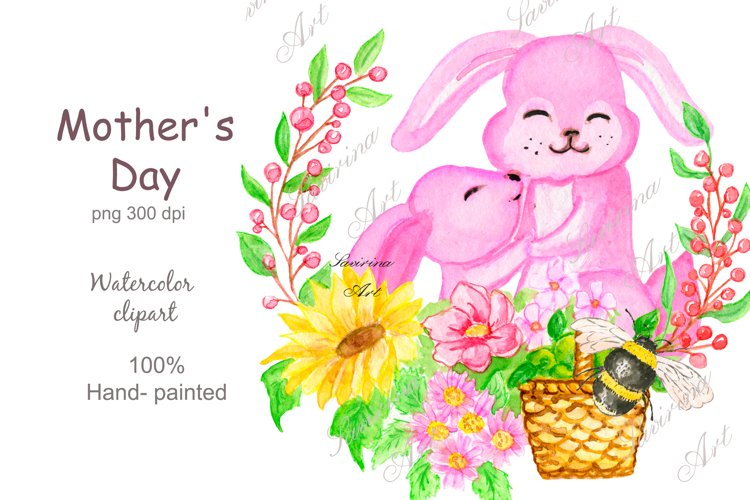 Watercolor clipart, Bunny Animals, rabbit mommy clipart.