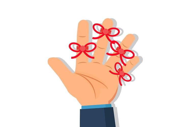 Businessman's hand with Reminder string on finger. example image 1