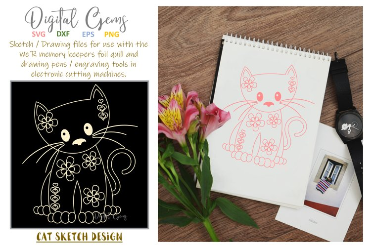Cat, single line sketch / drawing file. Foil quill design. example image 1