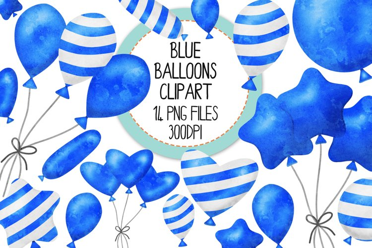 Blue Watercolor Balloon Clipart Set example image 1