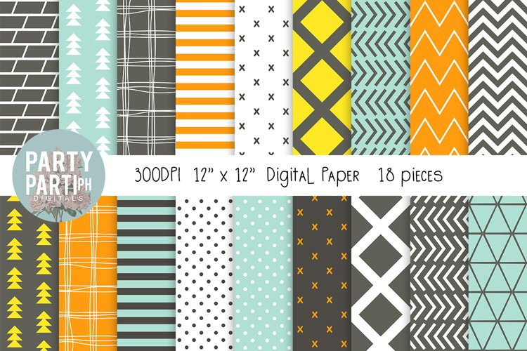 Gray, Yellow, Green Instant Download Digital Paper Seamless
