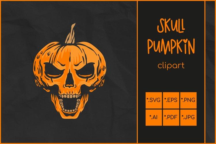 Halloween SVG, Skull Pumpkin SVG, Jack O'Lantern Skull Rocks example image 1