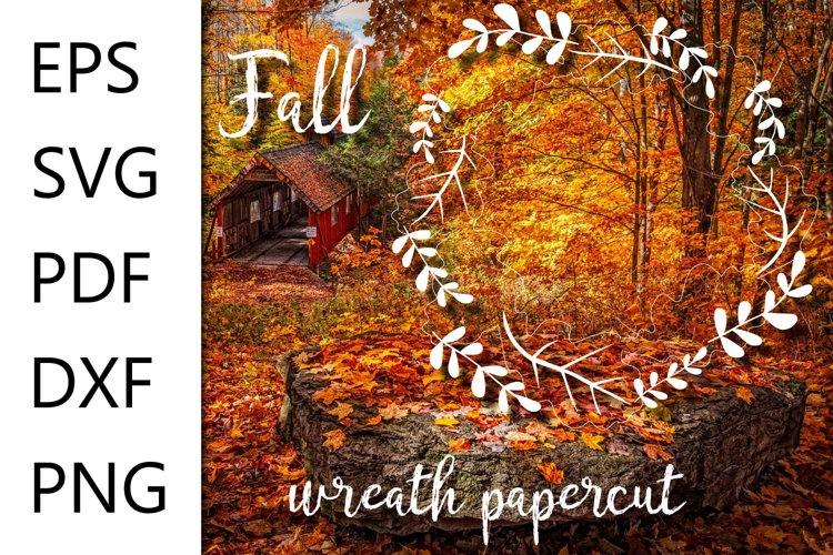 Fall wreath papercut file - EPS SVG PDF DXF PNG example image 1