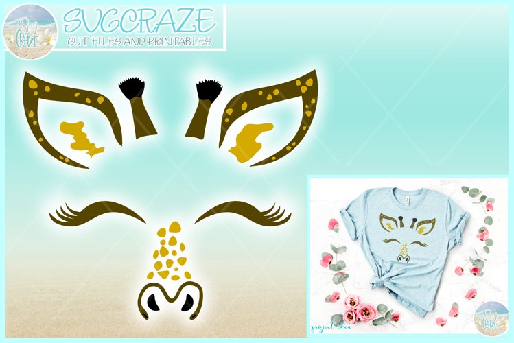 Giraffe Face SVG Dxf Eps Png PDF Files for Cricut Silhouette example image 1
