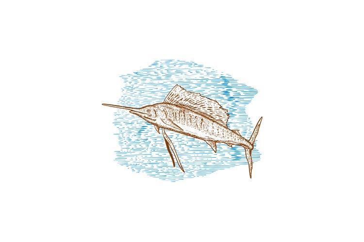 Sailfish Fish Jumping Sketch example image 1