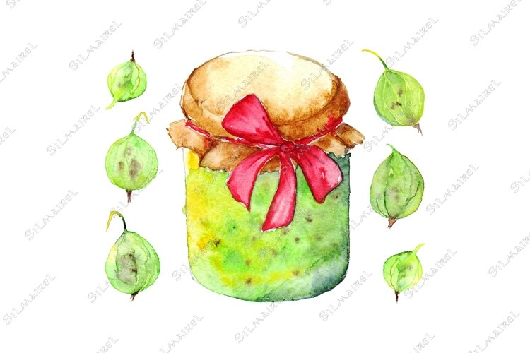 Watercolor gooseberry berry jam jar bow isolated set example image 1