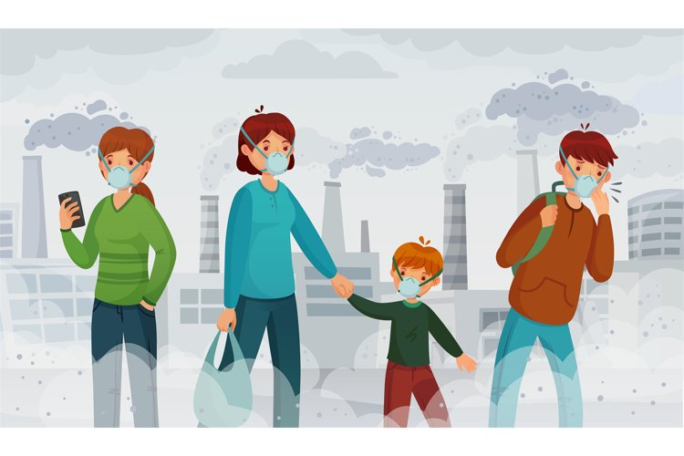 City air pollution. Smog pollutants, suffocation environment example image 1