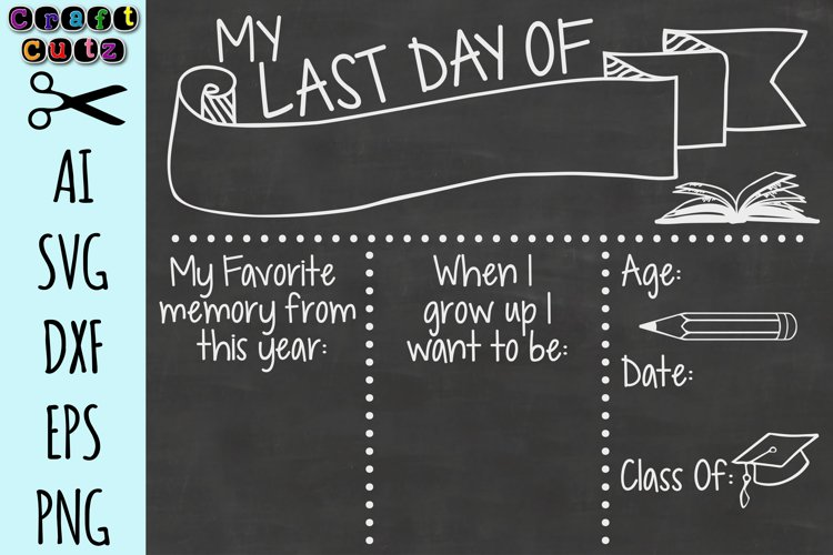 Last Day Of School Board, Chalkboard, Cut File, AI, SVG, DXF, EPS, and PNG