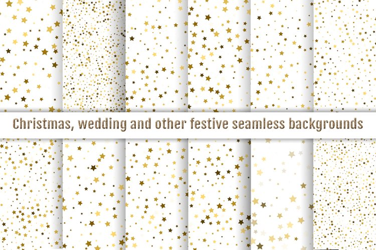 Digital papers seamless gold star confetti example image 1