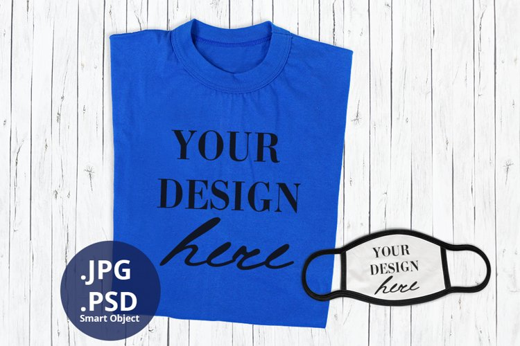 Blue T-shirt & Face Mask Mockup, Full wrap t-shirt mock up example image 1