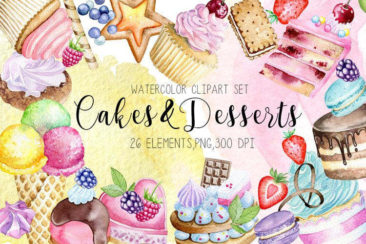 Watercolor desserts clipart,Cakes and cupcakes clipart example image 1