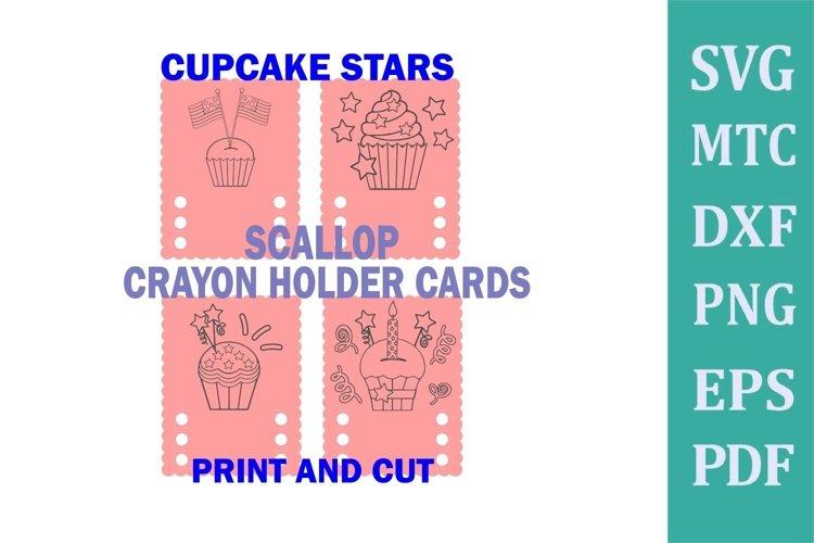 Crayon Holder SCALLOP 3 Crayon CUPCAKE Stars Print & Cut