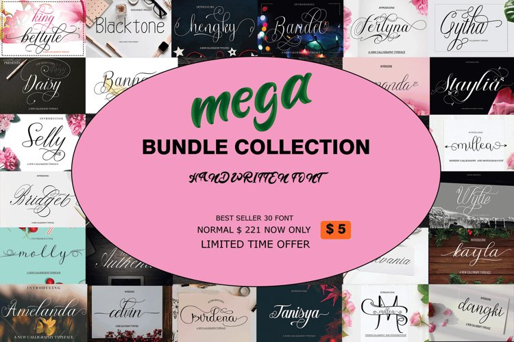 MEGA BUNDLE COLLECTION 30 FONTS example image 1