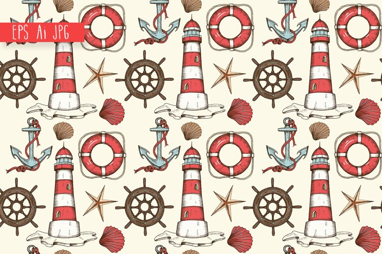 Vintage nautical seamless background example image 1