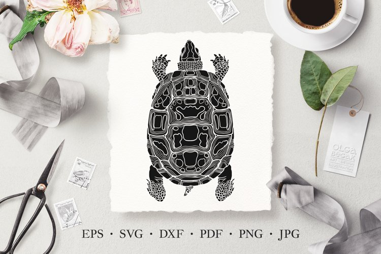 Turtle Vector Stencil Illustration SVG, Laser Cut Template example image 1