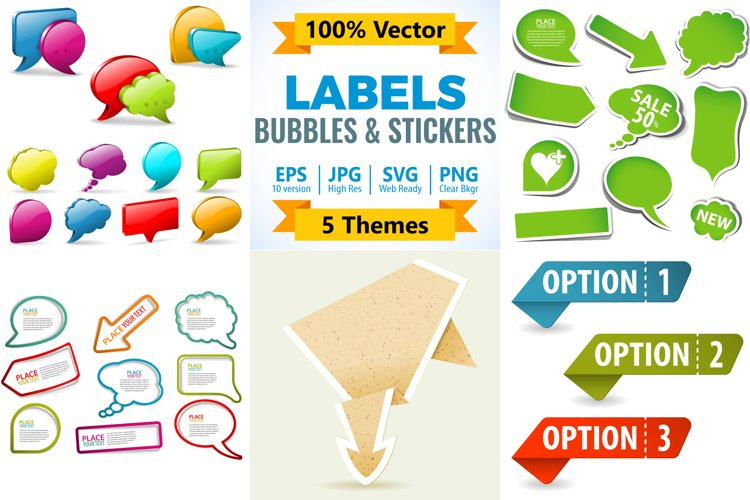 Speech Bubbles, Social Media Stickers, Paper Origami Arrow example image 1