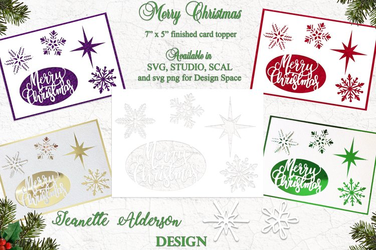 """Merry Christmas greeting card topper 7""""x5"""" example image 1"""