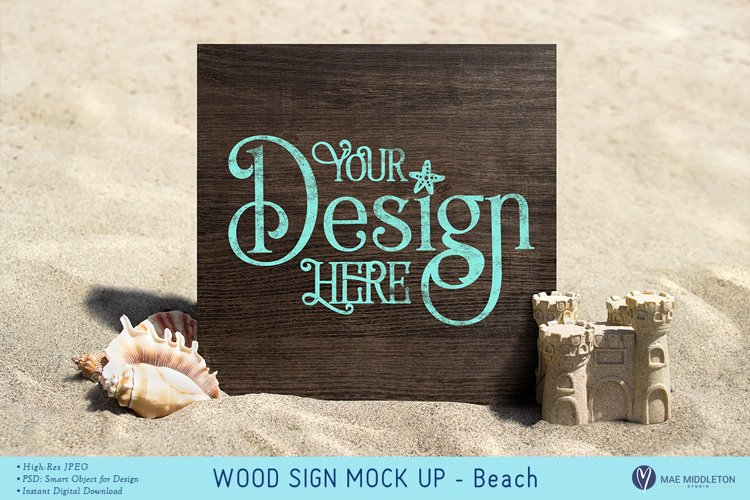 Wood Sign at the Beach Mock up