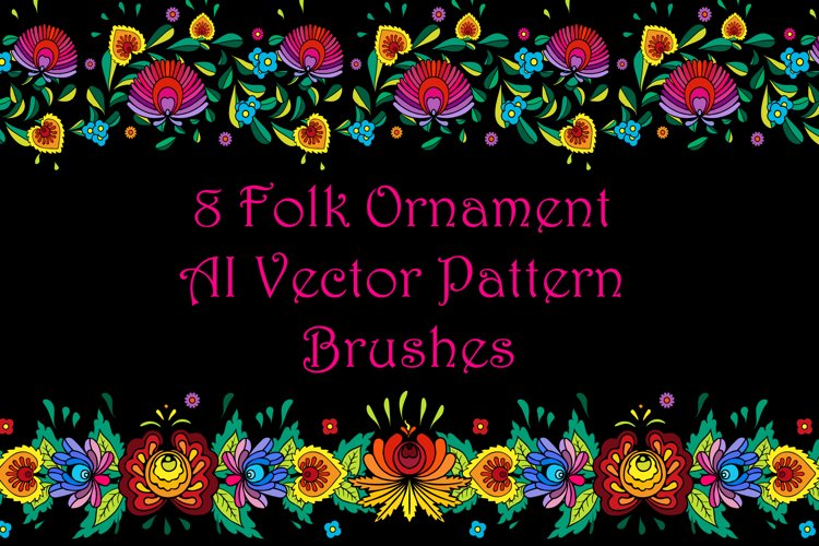 8 Folk Floral Ornament Pattern Brushes for AI