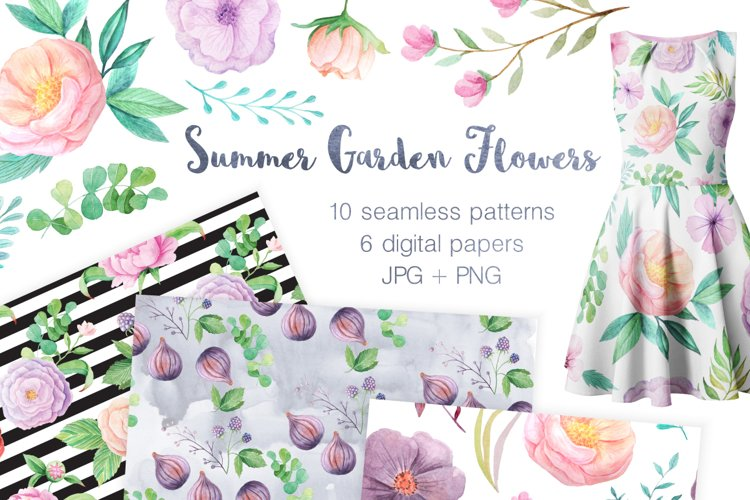 Summer Floral Seamless Patterns example image 1