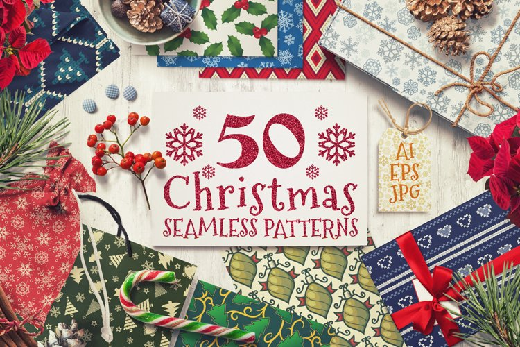 50 Christmas Seamless Patterns example image 1