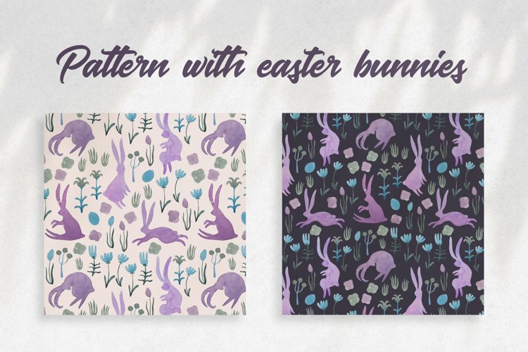 Seamless watercolor pattern with easter bunnies example image 1