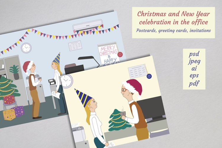 Christmas and New Year celebration in the office cards example image 1