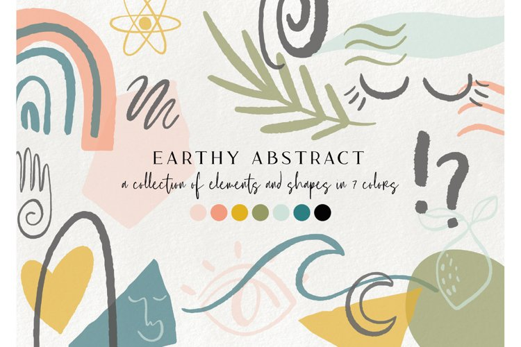 100 earthy abstract design elements - floral illustrations