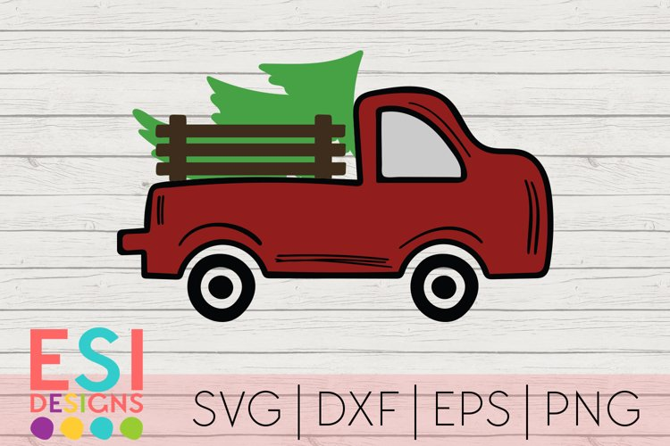 Vintage Red Truck Christmas Tree |Christmas SVG | Hand Drawn example image 1