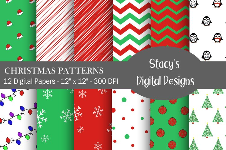 Christmas Patterns - 12 Digital Papers example image 1