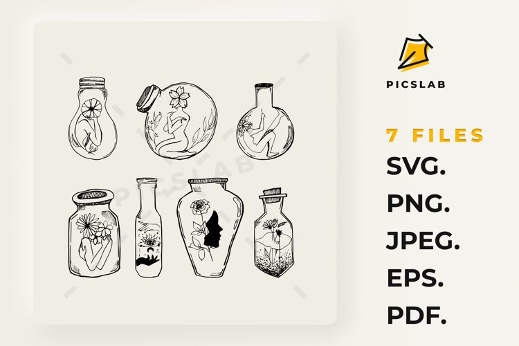 Mason jar clipart, Glass jars with flowers, Witch art example image 1