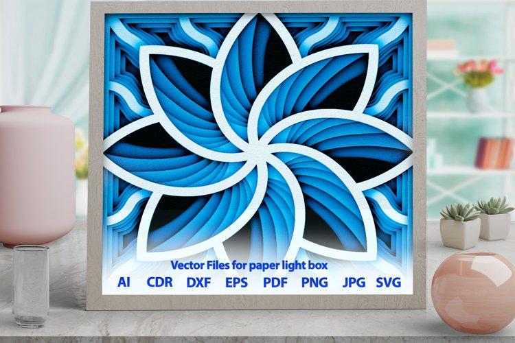 3D Mandala rose Shadowbox svg template PNG DXF CDR -M13s