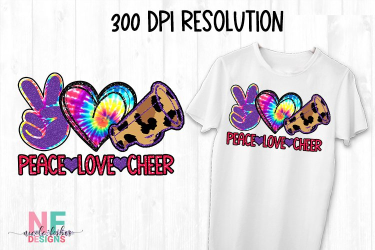 Peace Love Cheer Sublimation Design example image 1