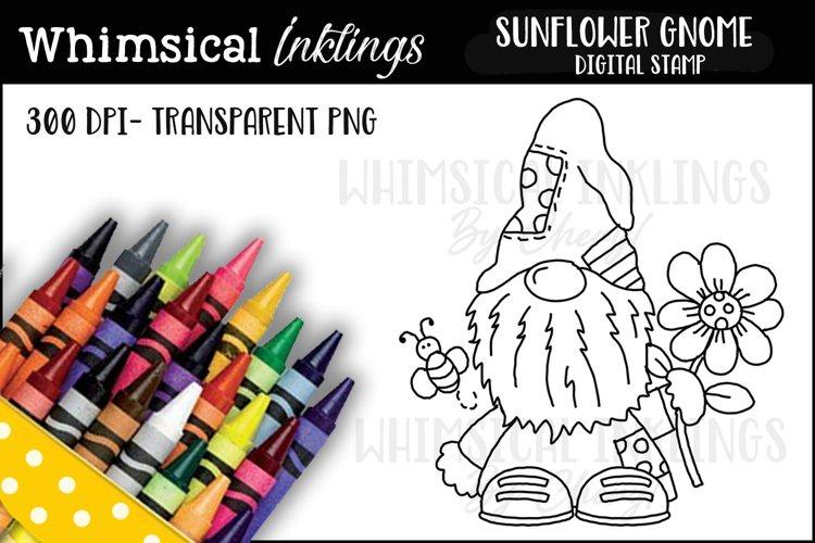 Sunflower Gnome Digital Stamp