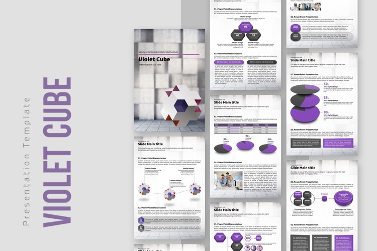 Violet Cube PPT Template Vertical example image 1