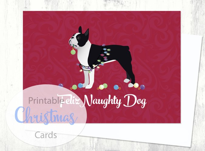 Boston Terrier - Black - Dog Christmas Card from the Breed Collection - Digital Download Printable example image 1