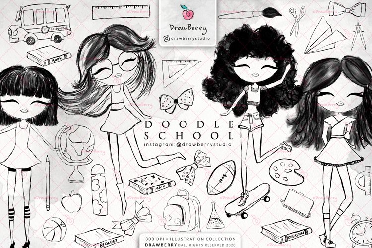 Doodle PNG Back to School Cliparts Pack | Drawberry CP015