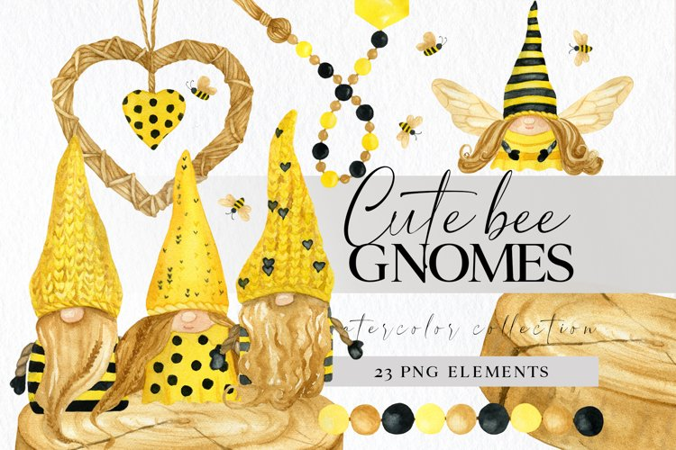 Bee gnomes png clipart, watercolor bumble bee decor painting