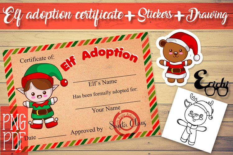 Elf adoption certificate printable, stickers, drawings / PNG example image 1